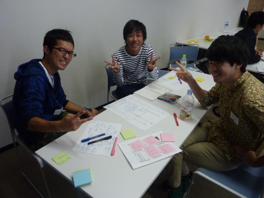 プロトタイピングの様子。対話の中でグループメンバーの新しい関係性ができます。